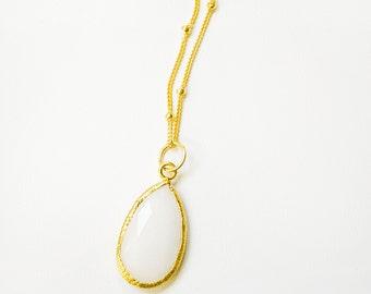 White Quartz Teardrop Pendant, Gold Teardrop Necklace Necklace, Beaded Chain Necklace, 14kt Gold Fill, White Quartz Teardrop Necklace