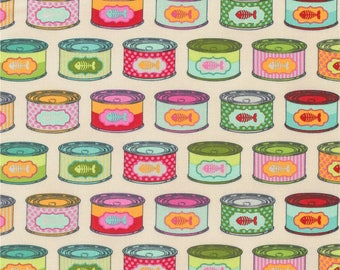 Tula Pink Tabby Road Cat Snacks Strawberry Fields Cat Food Tins Cans Cotton Fabric by Free Spirit Fabrics