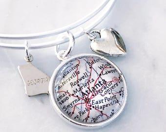 Atlanta Map Charm Bangle Bracelet - Personalized Map Jewelry - Georgia Love - Travel - Wanderlust - Hometown - Stacked Bangle