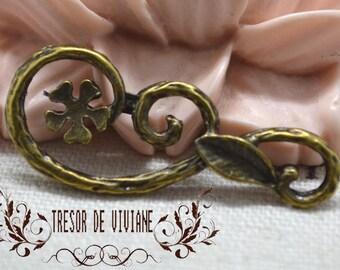Set of 8 QZW087 charms, connector, Bronze, flowers