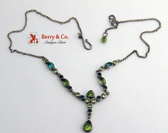 SaLe! sALe! Vintage Green Tourmaline and Peridot Necklace Sterling Silver