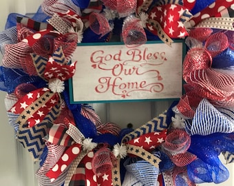 God Bless Our Home Wreath/Patriotic Wreath/4th of July Wreath/Summer Wreath/Religious Wreath/Memorial Day Wreath