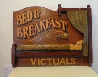 Vintage Wood 3D Bed and Breakfast Sign Country Decor