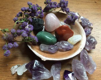 Moon Doobie Crystal Set: Seven Crystals You Should Own in a Small Wooden Saucer w/ an Asian Flare