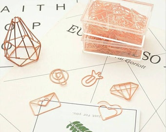 Rose Gold paper clips (30pcs): Pinneaple, Heart, Arrow, Envelope, Star, Cup