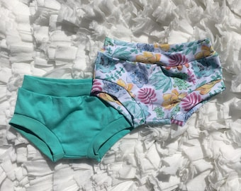 2 pack bundle set, succulents and mint bummies, girls bummies, bummies shorts, diaper covers