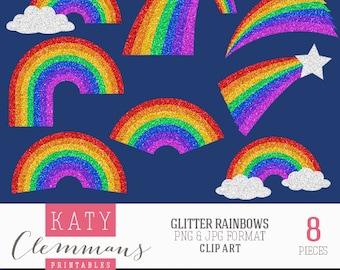 GLITTER RAINBOWS digital clip art pack. Printable textured rainbow illustrations, patterns, scrapbook art - instant download.