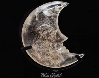 "Stunning! Crystal Smoky Quartz Crescent MOON 4.3"" Handcarved w Stand Healing Crystal and Stone Natural Crystal Sculpture Carving #CM06"