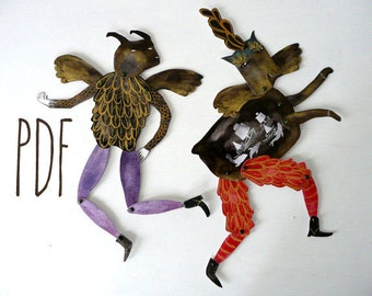 Hybrid Hinged Beasts V5 PDF Articulated Paper Dolls / Hinged Beasts Series Instant Download