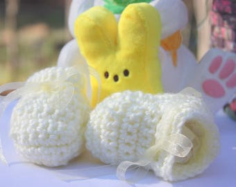 Pastell gelb Gehäkelte Babyschuhe - gelbe Baby-Schuhe - Gehäkelte Baby-Geschenk - neugeborenes Baby Booties