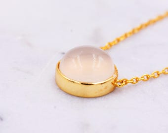 Sterling Silver with 18ct Gold Plating, Pink Rose Quartz Crystal Semi-Precious Gemstone Coin Round Circle Pendant Necklace H108