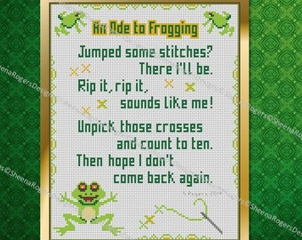 An Ode to Frogging Cross Stitch PDF Chart Pack