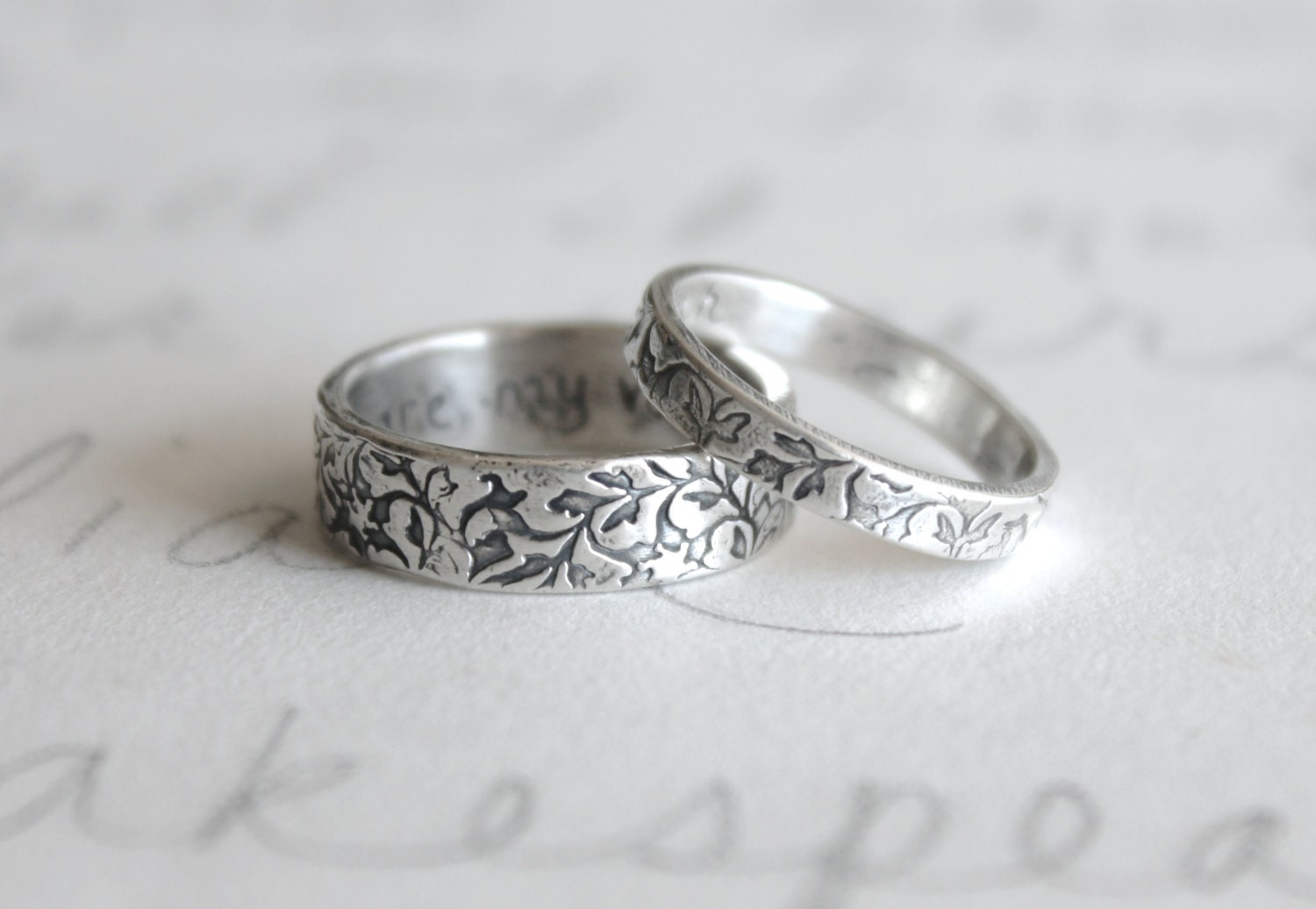 rustic vine wedding band set engraved leaf wedding band ring