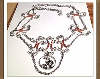 Handmade MWL wire forged shaped necklace. 0257