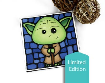 Yoda Canvas Print - Limited Edition - Hand-Painted Acrylic Outlines - Baby Boy Nursery Decor - Starwars Wall Art - Geeky - Sci-Fi Artwork