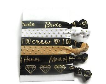 Bridal Party Hair Tie Set, Elastic Hair Tie Set, Women's Yoga Hair Ties, Bridesmaid Gift, Bridesmaid Hair Ties, Bride Tribe, I Do Crew