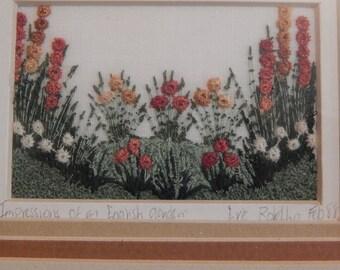 "Vintage Eve Botelho Framed Needlework ""Impressions of an English Garden"""