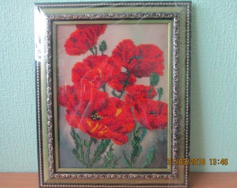 Painting, poppies, embroidered pattern, bead painting