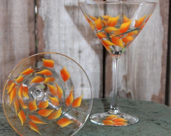 Hand Painted Martini Glasses - Fall Leaves  (Set of 2)