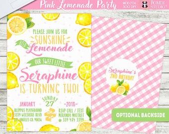 PRINTABLE or PRINTED ||Lemonade Birthday Party|| Optional Thank you cards|| Optional Backside ||Watercolor|| Pink Lemonade Invitation|| Any
