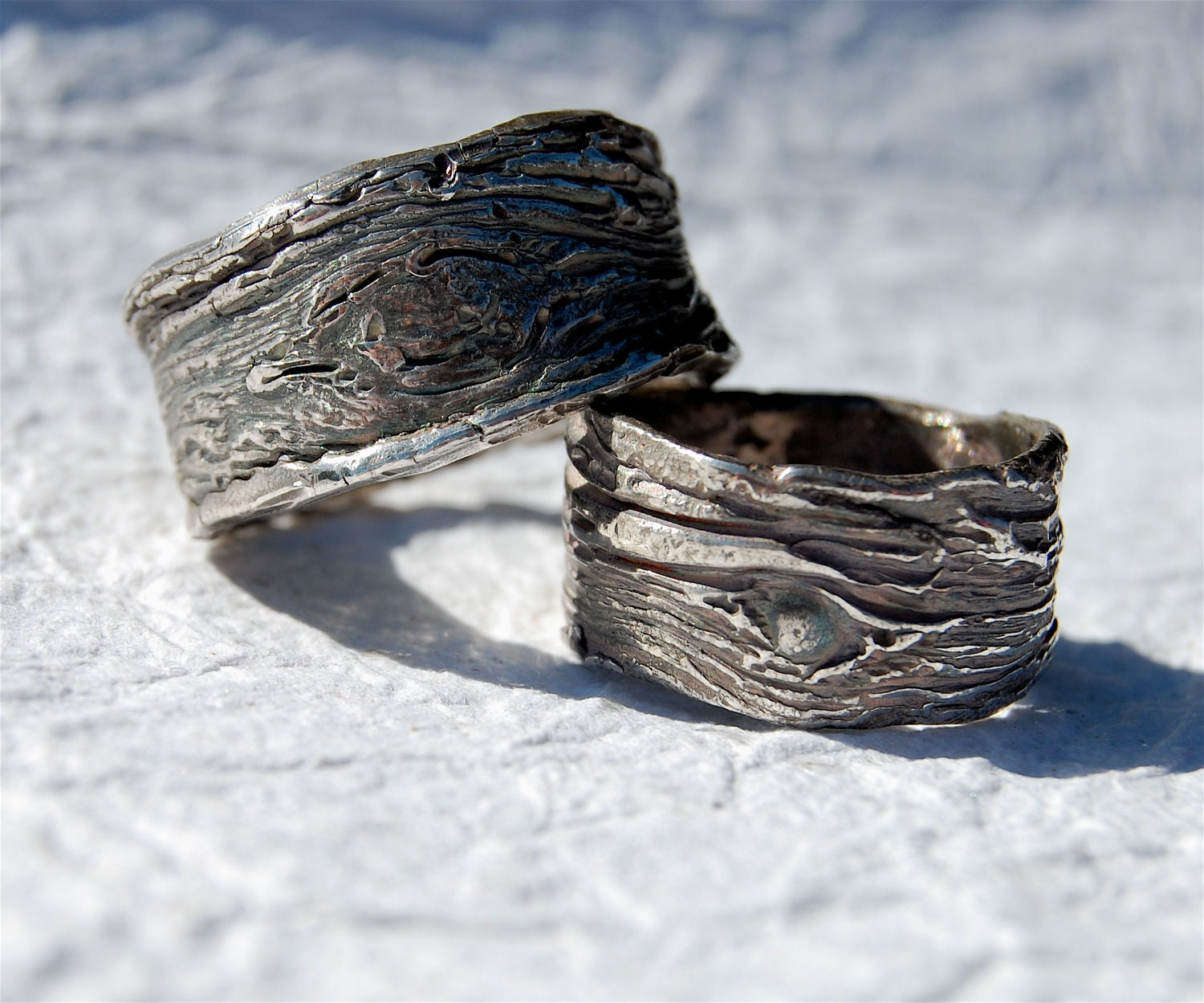 Rustic Wedding Bands SET of tree bark unique rustic rings