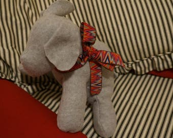 Handmade Sensory-Friendly Softie - The Blank Puppy (Pale Gray/Multi-Color Zig Zag Ribbon)