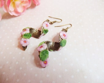 Earrings cherry blossom / Cherry flower / Cherry blossoms / cold porcelain / spring / spring / summer / flower jewelry