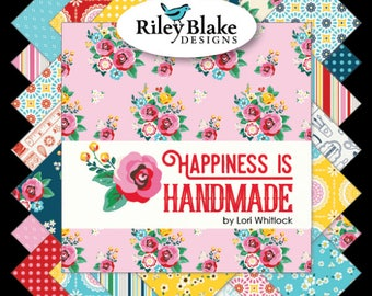 "42 10"" Squares Fabric Happiness is Handmade Riley Blake Layer cake"