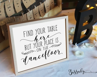 Table Seating Dancefloor Poster - INSTANT DOWNLOAD - Wedding Reception Dance Floor Art Black White Sign - 4 sizes included