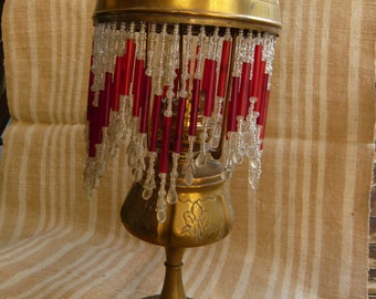 """French brass oil lamp Art Nouveau""""La Parisienne"""" shade with cabochons  beads end 19th early 20th victorian period old lighting vintage lamp."""
