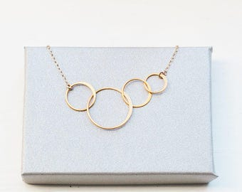 Generation Necklace, circle link infinity, family necklace, grandmother, mom and kids.