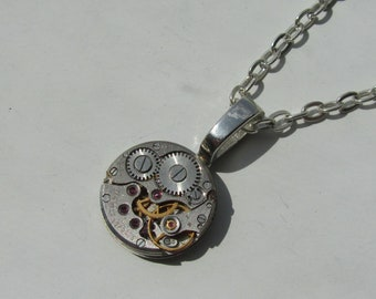 Steampunk Statement Grey Necklace vintage watch movement Clockwork Pendant Industrial Unisex Jewellery Tech Lover Gift for Him for Her