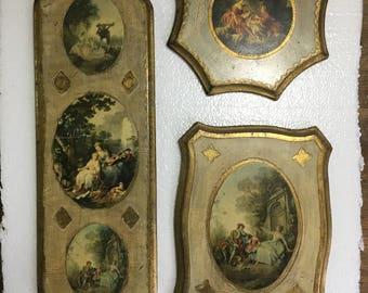 Set of 3 vintage Italian wood wall Antiqued Florentine Art Plaques Italy