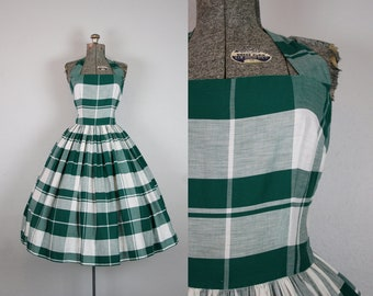 1950's Green and White Plaid Cotton Halter Dress / Size Small