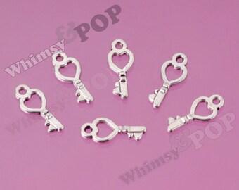 10 - Small Tibetan Silver Heart Skeleton Key Charms, Key Charm, 18mm x 8mm (R9-056)