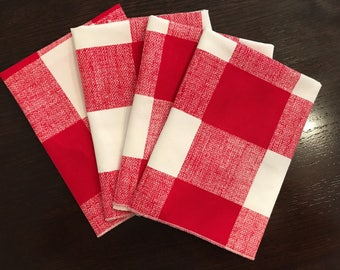 Buffalo Plaid Napkins | Spring Napkins | RED Napkin | Patriotic Napkins | Buffalo Plaid Christmas | Buffalo Plaid Table Runner | Pink Decor