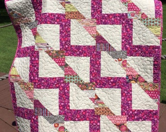 "A Liberated Half Square Triangle 41"" X 50"" Quilt In Raspberry, Pink, Purple, Chartreuse and More"