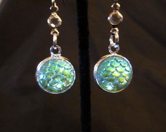 Iridescent Blue Green Mermaid Scale Dangle Earrings