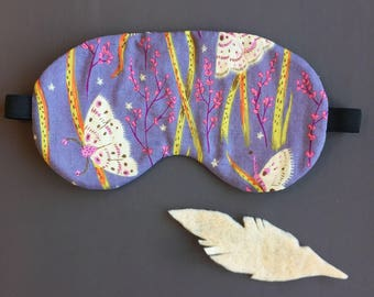 Eye Mask Purple Fabric Butterflies pattern eye mask mask for eyes travel mask