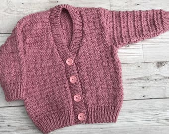 Hand knitted baby cardigan, 3 to 6 months baby sweater, dusky pink colour baby knitwear, baby girl clothing, baby gift ideas, baby shower