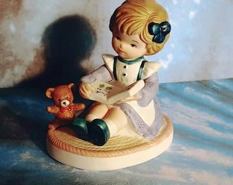 Girl Reading Book Figurine - Homco #1440 - Vintage Porcelain