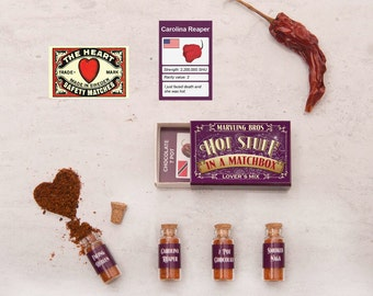 Lover's Mix Hottest Chilli Powders In A Matchbox, Gift For Boyfriend, Gift For Husband, Valentine Gift, Girlfriend Gift, Gift For Wife,