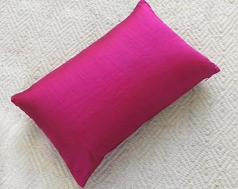 SALE Fuchsia Pink dupioni silk decorative pillow. Hot pink throw pillow cover.  Lumpur pillow. Hotpink Luxury silk pillow save up to 20 %
