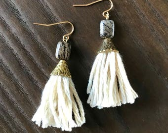 Jasper Tassle Earrings