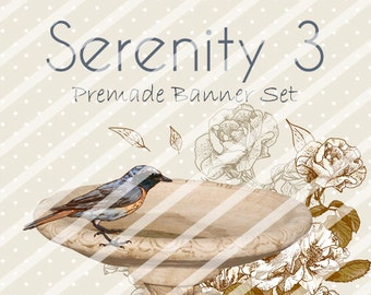 "Banner Set - Shop banner set - Premade Banner Set - Graphic Banners - Facebook Cover - Avatars - Bisiness Card - ""Serenity 3"""