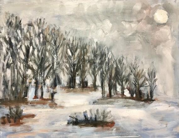 "Original Oil Painting: First Snow, 12"" x 16"""