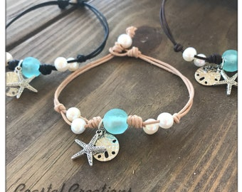 Sea Glass and Pearl Anklet