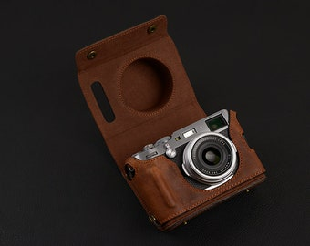 Handmade Fujifilm fuji film X100F Half Case with Removable Cover Cowhide leather insert Camera bag Protector HandGrip Tripod mount