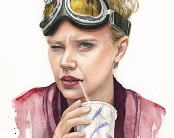 Jillian Holtzmann Portrait, Watercolor Print, Holtzmann Art, Ghostbusters Art, Ghostbusters Holtzmann Painting, Kate McKinnon Portrait Print