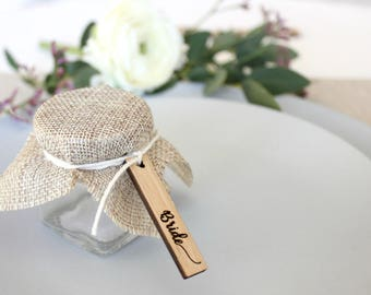 Wooden wedding tags engraved, timber wedding favor tags